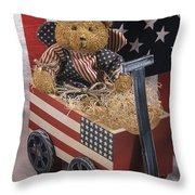 Patriot Bear Throw Pillow by Sharon Elliott
