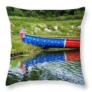 Patriotic Canoe #1 Throw Pillow by Nikolyn McDonald