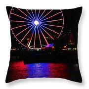 Patriotic Ferris Wheel Throw Pillow by Kym Backland