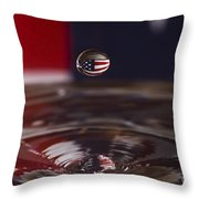 Patriotic Water Drop Throw Pillow by Anthony Sacco