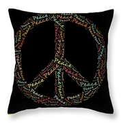 Peace Symbol - 0202 Throw Pillow by Variance Collections