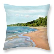 Peaceful Beach At Pier Cove Throw Pillow by Michelle Calkins