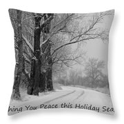 Peaceful Holiday Card Throw Pillow by Carol Groenen