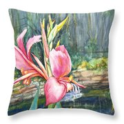 Peach Canna by the Pond Throw Pillow by Patricia Allingham Carlson