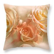 Peach Roses In The Mist Throw Pillow by Jennie Marie Schell