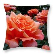 Peach Roses Throw Pillow by Rona Black