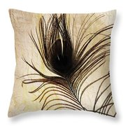 Peacock Feather Silhouette Throw Pillow by Sarah Loft