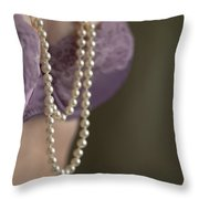 Pearl Necklace Throw Pillow by Lee Avison