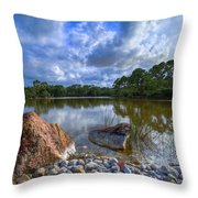 Pebble Beach Throw Pillow by Debra and Dave Vanderlaan