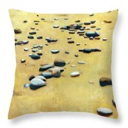 Pebbles On The Beach - Oil Throw Pillow by Michelle Calkins