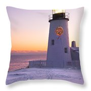 Pemaquid Point Lighthouse Christmas Snow Wreath Maine Throw Pillow by Keith Webber Jr
