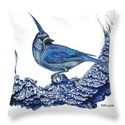 Pen And Ink Drawing Of Small Blue Bird  Throw Pillow by Mario Perez