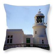 Pendeen Lighthouse Cornwall Throw Pillow by Terri Waters