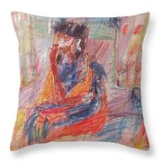 Penelope Pensive Throw Pillow by Esther Newman-Cohen