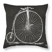 Penny-farthing 1867 High Wheeler Bicycle Patent - Gray Throw Pillow by Nikki Marie Smith