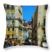 Pensao Geres - Lisbon 2 Throw Pillow by Mary Machare