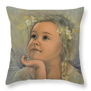 Pensive - Angel 22 Throw Pillow by Dorina  Costras