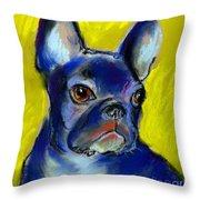 Pensive French Bulldog portrait Throw Pillow by Svetlana Novikova