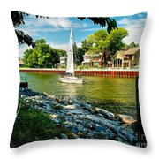 Pentwater Channel Michigan Throw Pillow by Nick Zelinsky