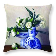 Peony Blossoms Throw Pillow by Rick Hansen