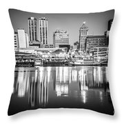 Peoria Illinois Skyline At Night In Black And White Throw Pillow by Paul Velgos