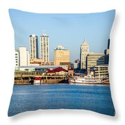 Peoria Skyline And Downtown City Buildings Throw Pillow by Paul Velgos