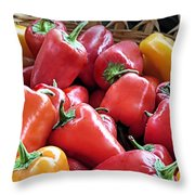 Peppers Throw Pillow by Janice Drew