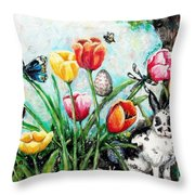 Peters Easter Garden Throw Pillow by Shana Rowe Jackson