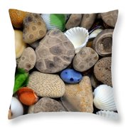 Petoskey Stones Lll Throw Pillow by Michelle Calkins