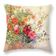 Petunias Lobelias Busy Lizzies and Fuschia in a Terracotta Pot Throw Pillow by Joan Thewsey