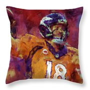 Peyton Manning Abstract 5 Throw Pillow by David G Paul