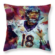 Peyton Manning Abstract 6 Throw Pillow by David G Paul