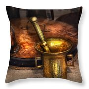 Pharmacist - Making Magic Throw Pillow by Mike Savad