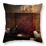 Pharmacist - Organizing Powder Throw Pillow by Mike Savad