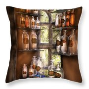 Pharmacist - Various Potions Throw Pillow by Mike Savad
