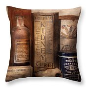 Pharmacy - Cures For The Bowels Throw Pillow by Mike Savad