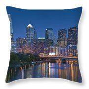 Phila Pa Night Skyline Reflections Center City Schuylkill River Throw Pillow by David Zanzinger