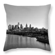 Philadelphia Black And White Throw Pillow by Bill Cannon
