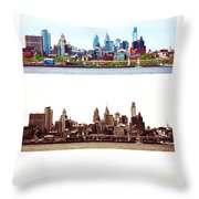 Philadelphia Four Seasons Throw Pillow by Olivier Le Queinec