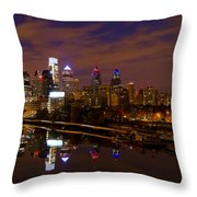 Philadelphia On The Schuylkill At Night Throw Pillow by Bill Cannon