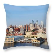 Philadelphia River View Throw Pillow by Bill Cannon