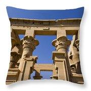 Philae Temple Egypt Throw Pillow by Brenda Kean