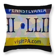 Phillies License Plate Map Throw Pillow by Bill Cannon