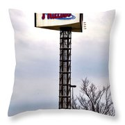 Phillies Stadium Sign Throw Pillow by Bill Cannon