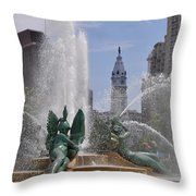 Philly Fountain Throw Pillow by Bill Cannon