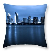 Photo Of San Diego At Night Skyline Buildings Throw Pillow by Paul Velgos