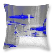 Piano Player In Pastel Blue Throw Pillow by George Pedro
