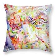 Picasso Pablo Watercolor Portrait.2 Throw Pillow by Fabrizio Cassetta