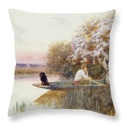 Picking Blossoms Throw Pillow by Thomas James Lloyd