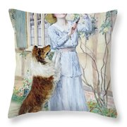 Picking Roses Throw Pillow by William Henry Margetson
